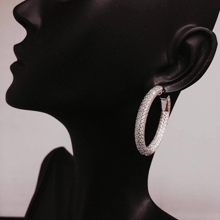 3.80 Carat Inside Out Micro Pave Diamond Hoop Earrings 2
