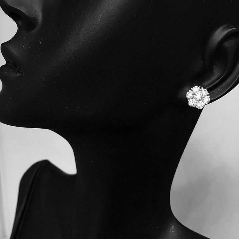 1.50 Carat Classic Diamond Cluster Earrings 2