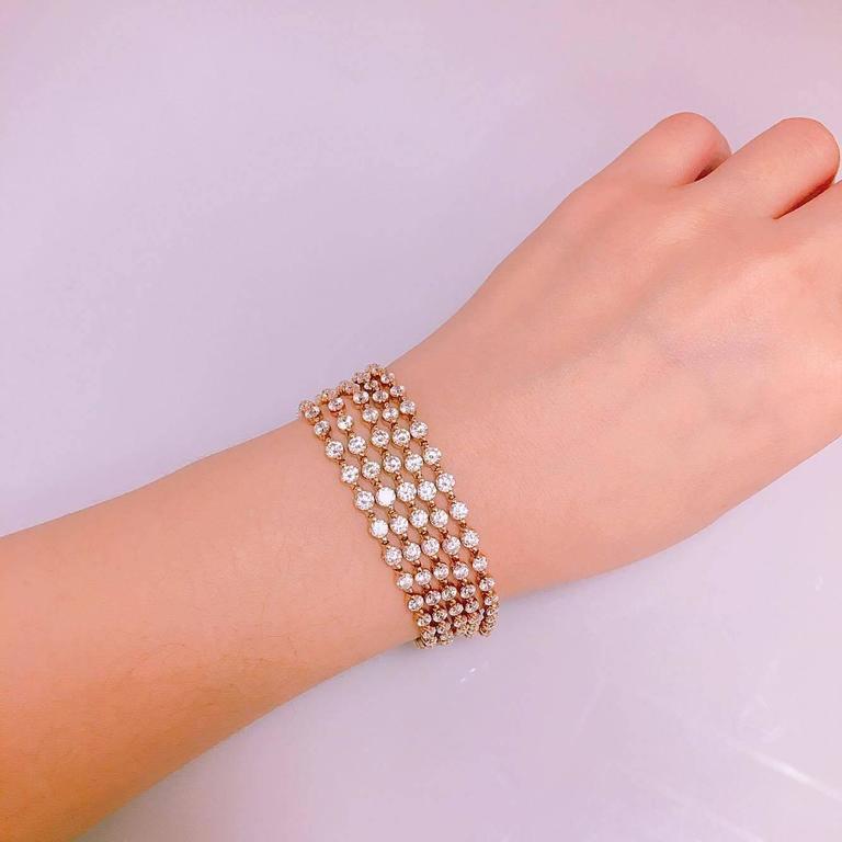 Modern 15.00 Carat Five-Row Graduating Endless Diamond Bracelet For Sale