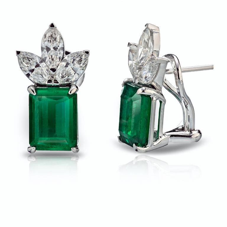8 50 Carat Total Weight Emerald Diamond Earrings For Sale
