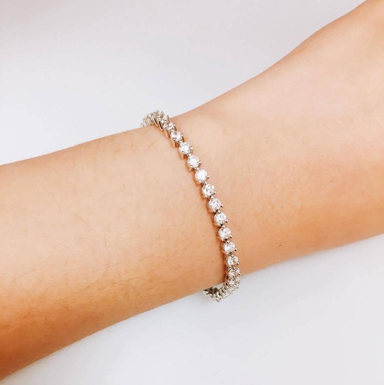 4 00 Carat Diamond Three Prong Tennis Bracelet For Sale At