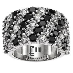 Wide Black and White Diamond Band