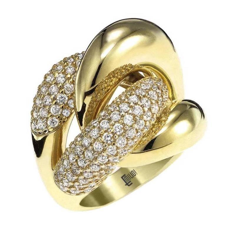Micro Pave Diamond Gold Dome Ring
