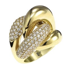 Micro Pave Diamond Gold Dome Ring