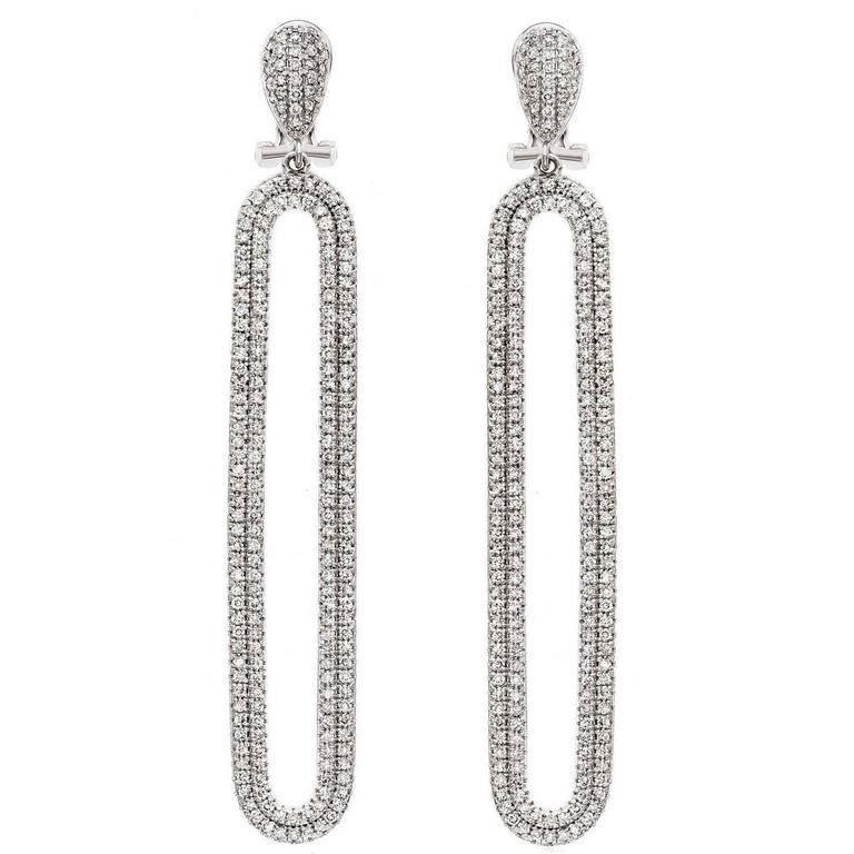 Exquisite Double Row Micro Pave Diamond Earrings