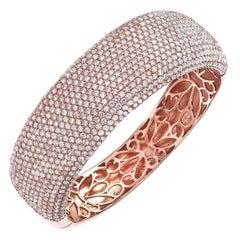 15 Row Micro Pave Diamond Gold Bangle Bracelet
