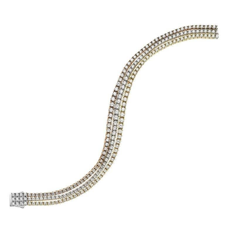 Emilio Jewelry 9.50 Carat Graduating Three-Row Diamond Endless Bracelet