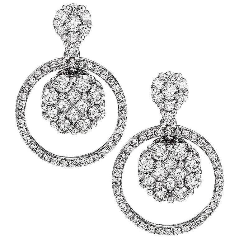 Classic Diamond Gold Cluster Earrings
