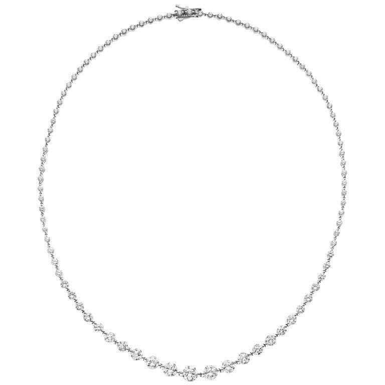 35847021332 Emilio Jewelry Single Prong Graduating Diamond Riviere Necklace 11.00  Carats For Sale