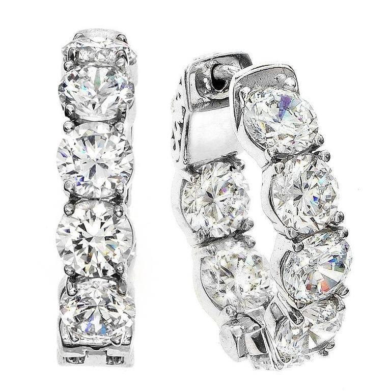 Emilio Jewelry Diamond Gold Hoop Earrings .40 Carat Each Diamond