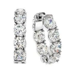 Emilio Jewelry Diamond Gold Platinum Hoop Earrings