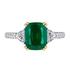 Emilio Jewelry 3.15 Carat Emerald Diamond Ring Set in Platinum