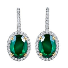 Emilio Jewelry Certified 8.49 Carat Platinum Emerald Diamond Earrings
