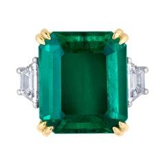 Emilio Jewelry 22.47 Carat Certified Columbian Emerald Diamond Platinum Ring