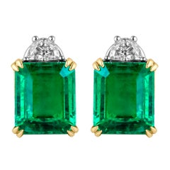 Emilio Jewelry Certified 9.65 Carat Genuine Emerald Diamond Platinum Earrings
