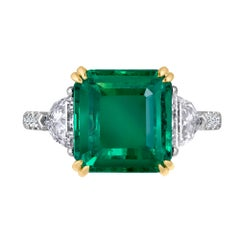 Emilio Jewelry 6.25 Carat Certified Emerald Diamond Ring Set in Platinum