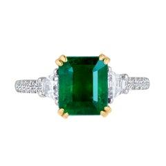 Emilio Jewelry 3.85 Carat Emerald Diamond Platinum Ring