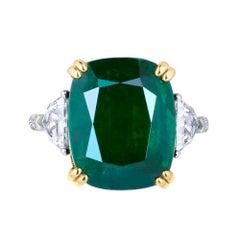 Emilio Jewelry 12.27Carat Certified Genuine Emerald Diamond Ring