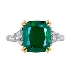 Emilio Jewelry Certified 6.11 Carat Emerald Diamond Platinum Ring