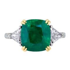 Emilio Jewelry Genuine 6.26 Carat Emerald Diamond Platinum Ring