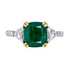Emilio Jewelry Certified 4.24 Carat Emerald Platinum Diamond Ring