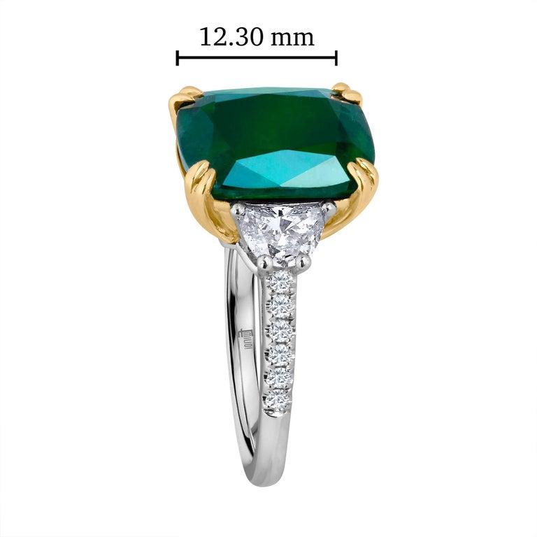 Women's Emilio Jewelry Certified 6.85 Carat Cushion Emerald Diamond Platinum Ring For Sale