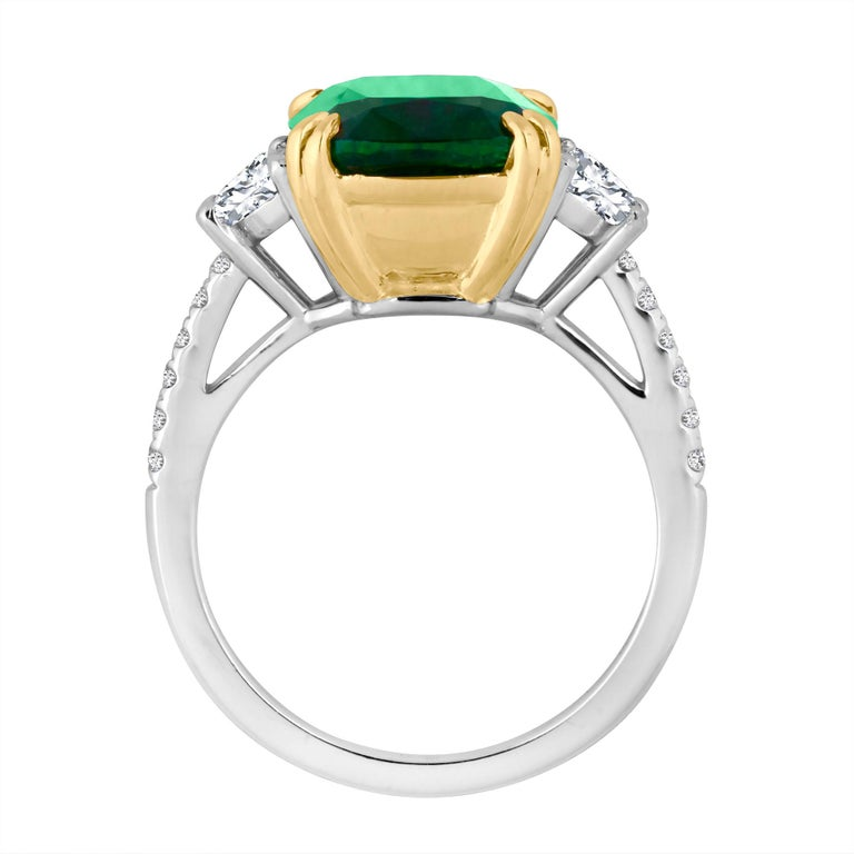 Emilio Jewelry Certified 6.85 Carat Cushion Emerald Diamond Platinum Ring For Sale 2