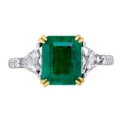 Emilio Jewelry Certified 4.10 Carat Emerald Diamond Platinum Ring
