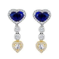 Emilio Jewelry 9.74 Carat Genuine Heart Shape Ceylon Sapphire Diamond Earrings