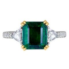 Emilio Jewelry Certified Genuine 3.87 Carat Emerald Platinum Diamond Ring