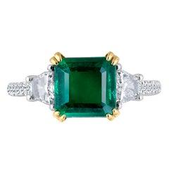 Emilio Jewelry Certified 3.77 Carat Emerald Platinum Diamond Ring
