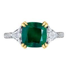Emilio Jewelry Certified 4.45 Carat Emerald Diamond Platinum Ring