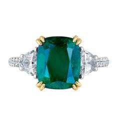 Emilio Jewelry Certified 4.97 Carat Emerald Diamond Platinum Ring