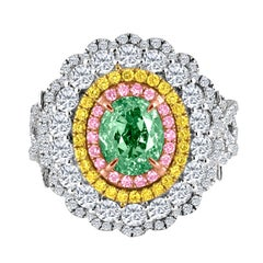 Emilio Jewelry GIA Certified Natural Fancy Green Diamond Ring and Pendant