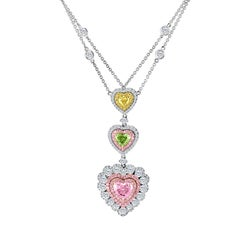 Emilio Jewelry GIA Certified 3.99 Carat Natural Pink and Green Diamond Pendant