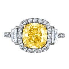 Emilio Jewelry 3.49 Carat GIA Certified Natural Fancy Yellow Diamond Ring