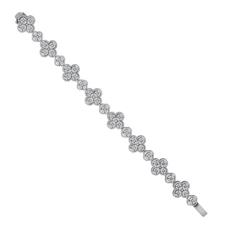 Emilio Jewelry 7.50 Carat Diamond Flower Bracelet For Sale