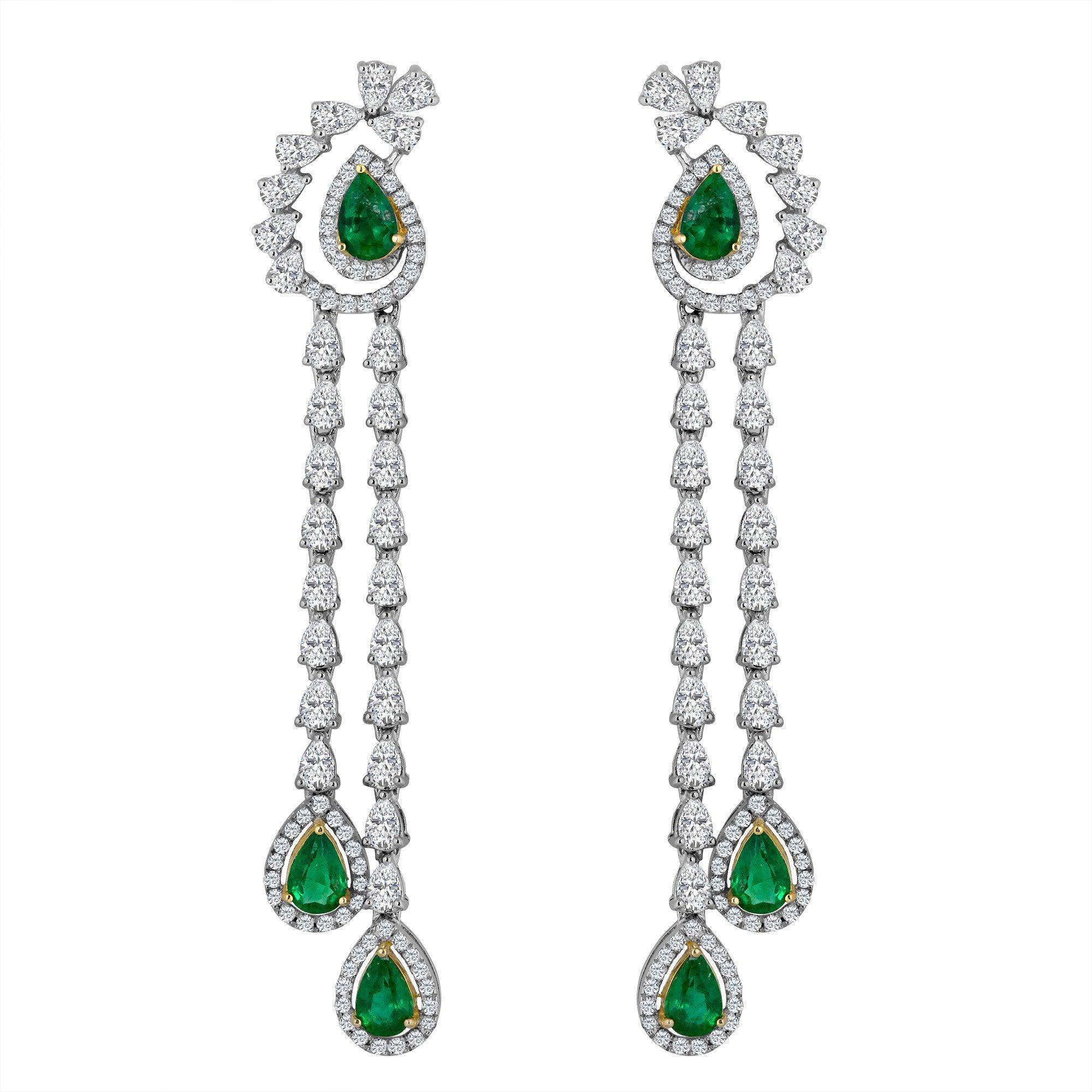 Emilio Jewelry 6.37 Carat Emerald Diamond Earrings