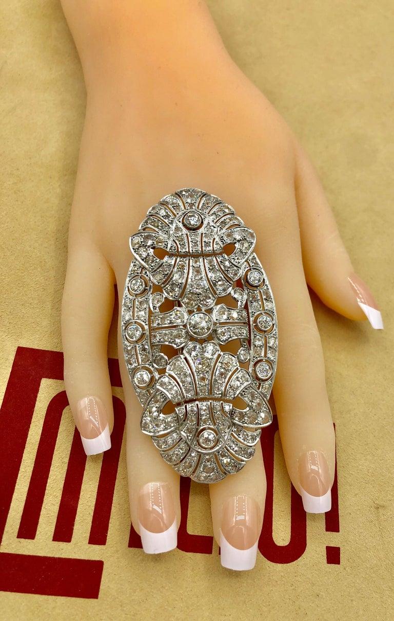 Women's Emilio Jewelry 15.00 Carat Diamond Brooch or Pendant For Sale