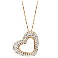 Micro Pave Diamond Gold Heart