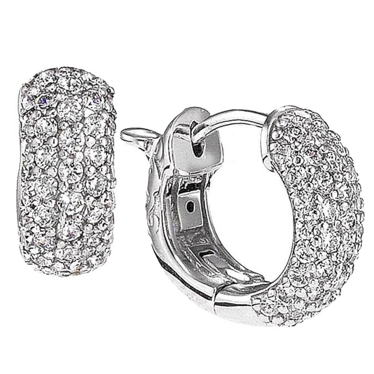 Diamond Micro Pave Huggie Earrings For