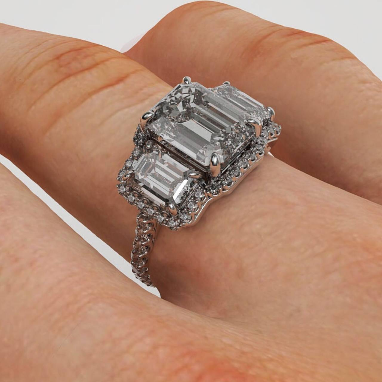 6 00 Carat Emerald Cut Three Stone Diamond Platinum Halo Ring at 1stdibs