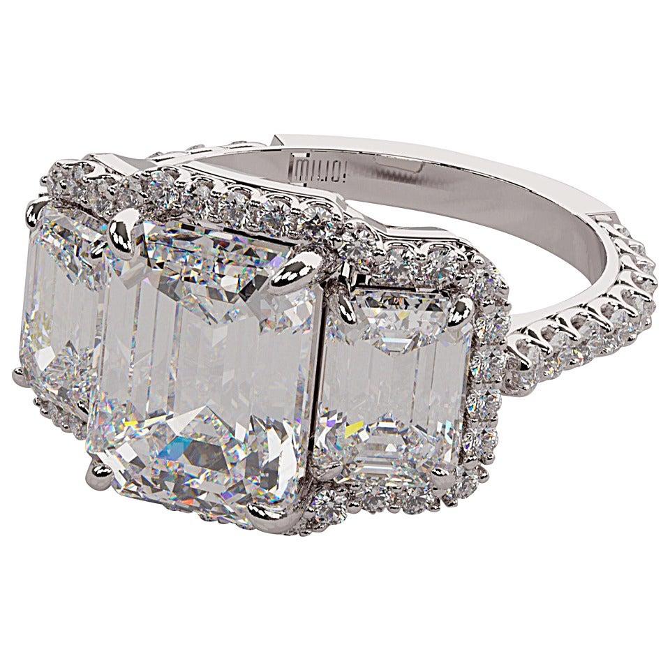 600 Carat Emerald Cut Three Stone Diamond Platinum Halo Ring 1