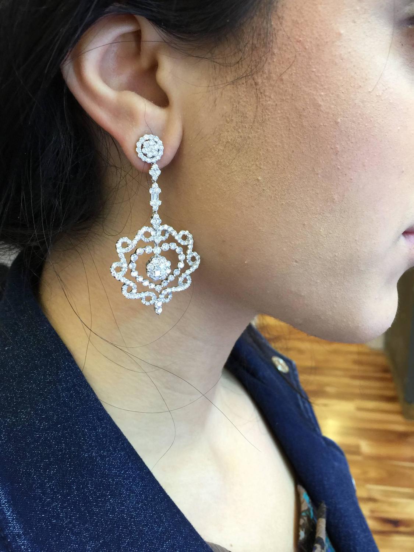 Long Diamond Gold Earrings At 1stdibs