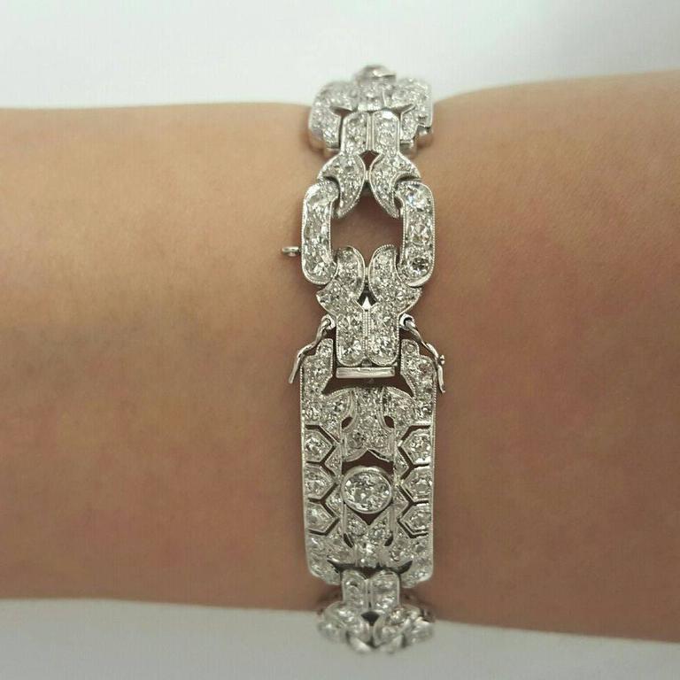 Art Deco Diamond Platinum Bracelet 6