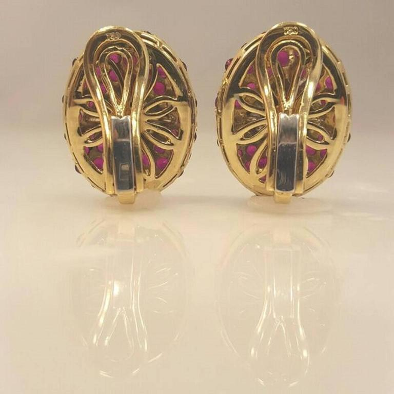 Burmese Ruby Diamond Gold Fancy Earrings 3