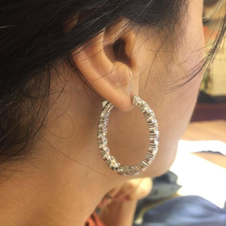 4054465c259b8 Oval Diamond Gold Platinum Inside Out Hoop Earrings
