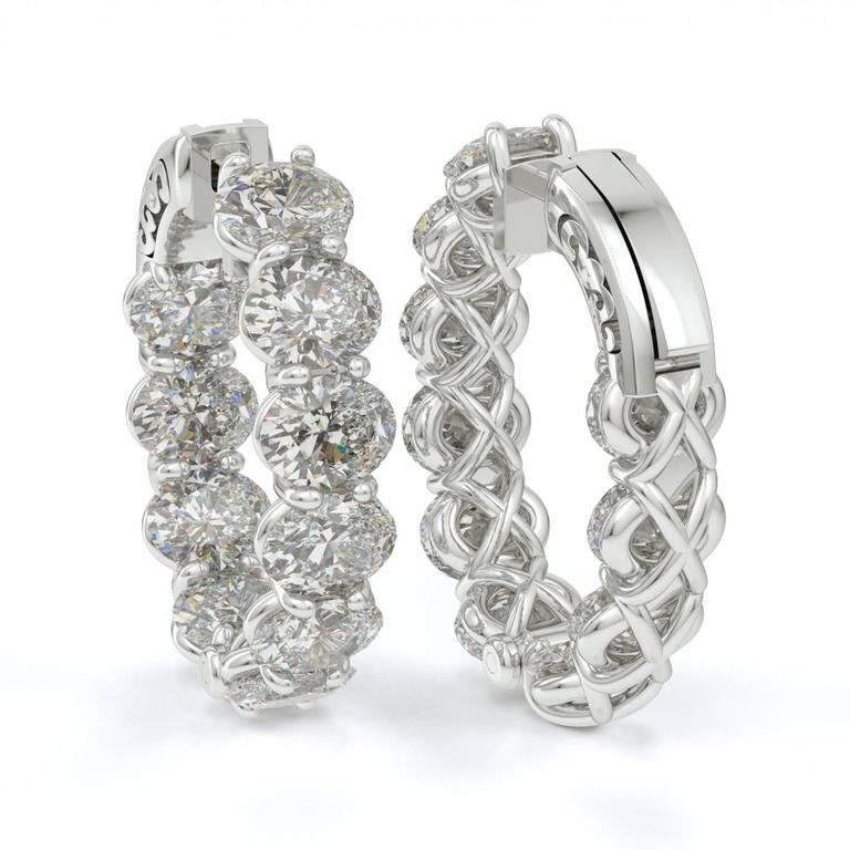 Oval Shaped Diamond Gold Platinum Hoop Earrings  2