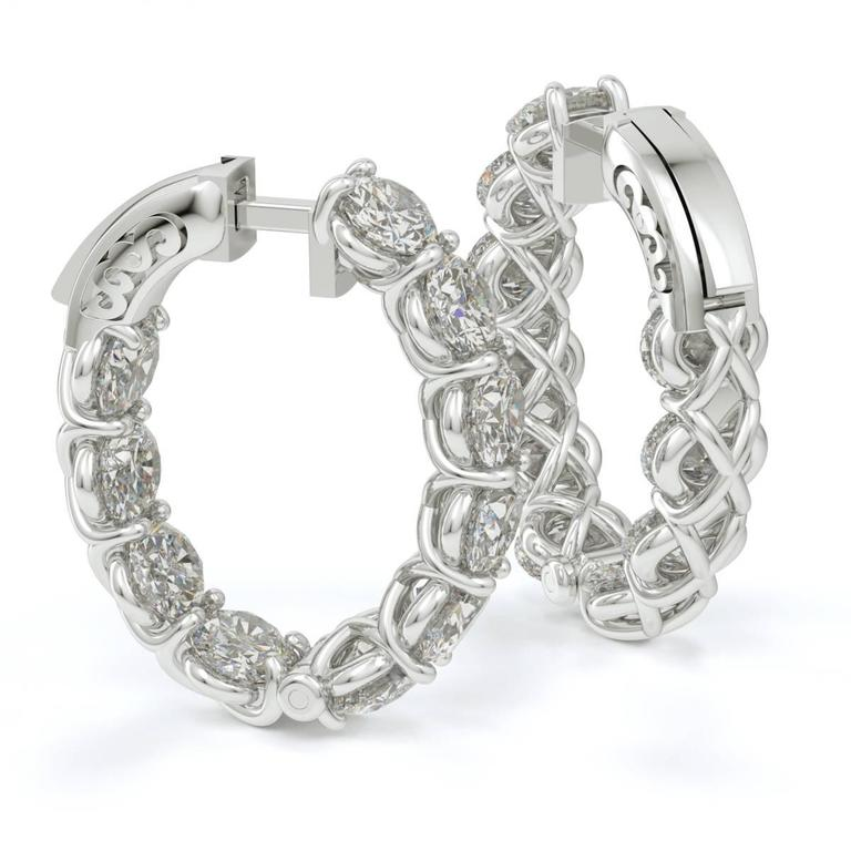 Oval Shaped Diamond Gold Platinum Hoop Earrings  3