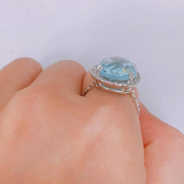 14.50 Carat Blue Topaz Diamond Gold Oval Ring 4